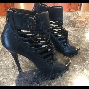 Steven by Steve Madden Black Leather Heels Size 6